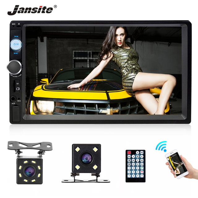 """Jansite 7"""" FHD 1080P Car Radio MP5 player Digital Touch screen Bluetooth Mirror link two din car autoradio Support Backup camera"""