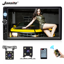 "Jansite 7 ""fhd 1080 p 자동차 라디오 mp5 플레이어 디지털 터치 스크린 블루투스 미러 링크 두 딘 자동차 autoradio 지원 백업 카메라"