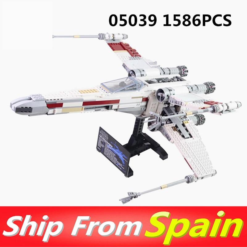 Oyuncaklar ve Hobi Ürünleri'ten Bloklar'de 05039 1586 Adet Yıldız Kırmızı Beş X Starfighter kanat Savaşları Yapı Taşları Tuğla Oyuncak ile Uyumlu 10240 oyuncaklar hediye'da  Grup 1