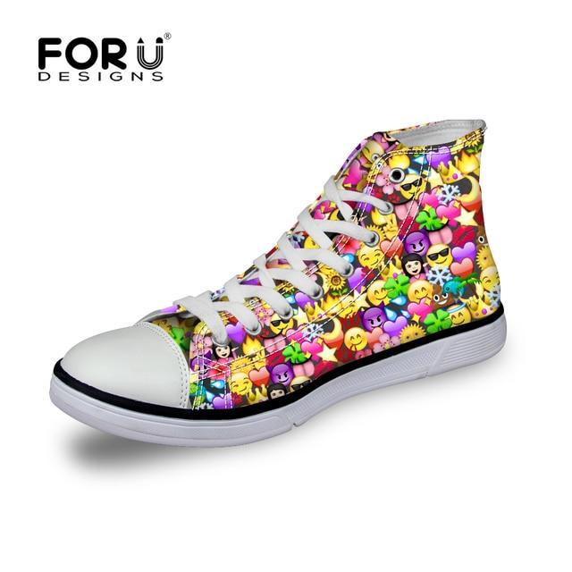 FORUDESIGNS Clásico Alto Zapatos de Lona Clásicos del Alto Clásico Top Emoji 2f5e01