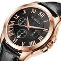 Ochstin homens relógio cronógrafo dos homens do esporte relógio de quartzo com pulseira de couro-relógio moda data dos homens relógio de pulso relogio masculino