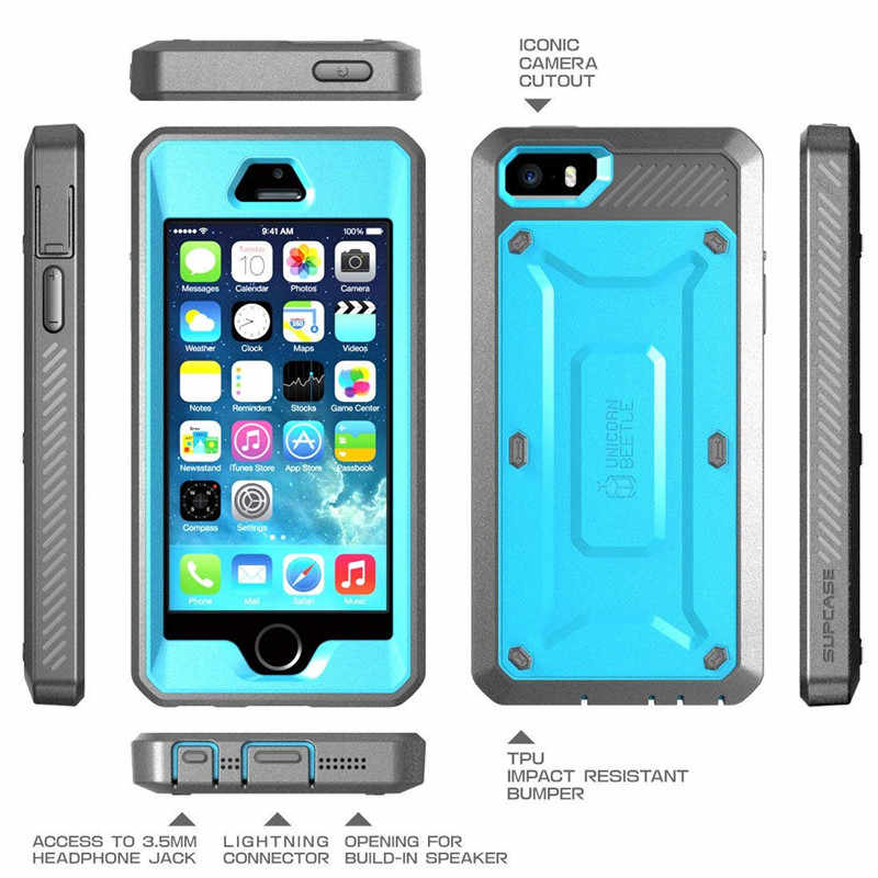 outlet store 6f34c bafda SUPCASE For iPhone SE 5 5s Case UB Pro Full-Body Rugged Holster Clip  Protective Cover with Built-in Screen Protector Case