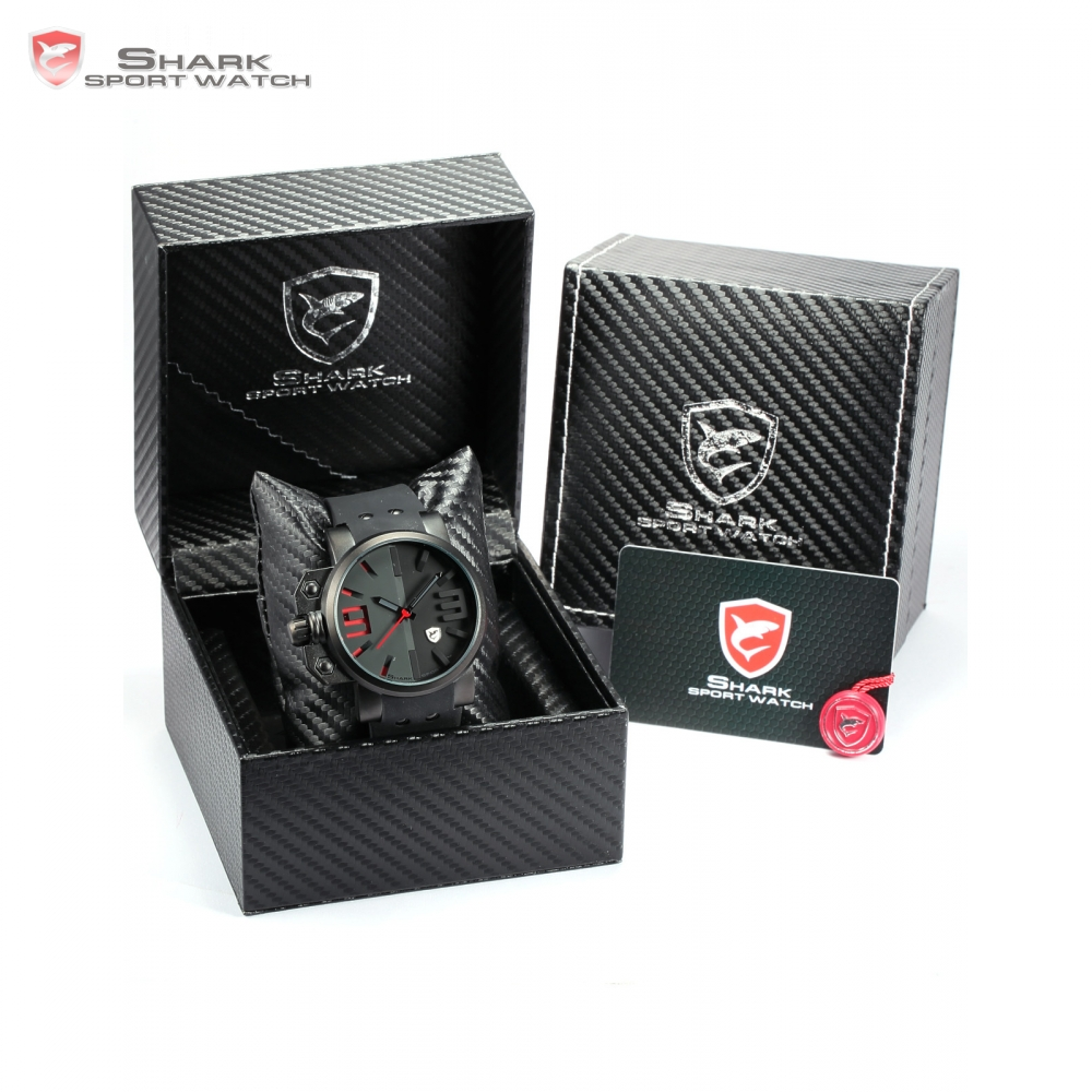 Luxury Leather Box Salmon SHARK Sport Watch Steel Case 3D Dial Japan Movement Silicon Band Men Gent Quartz Wristwatch /SH169-172  sh brandmens dial sh035