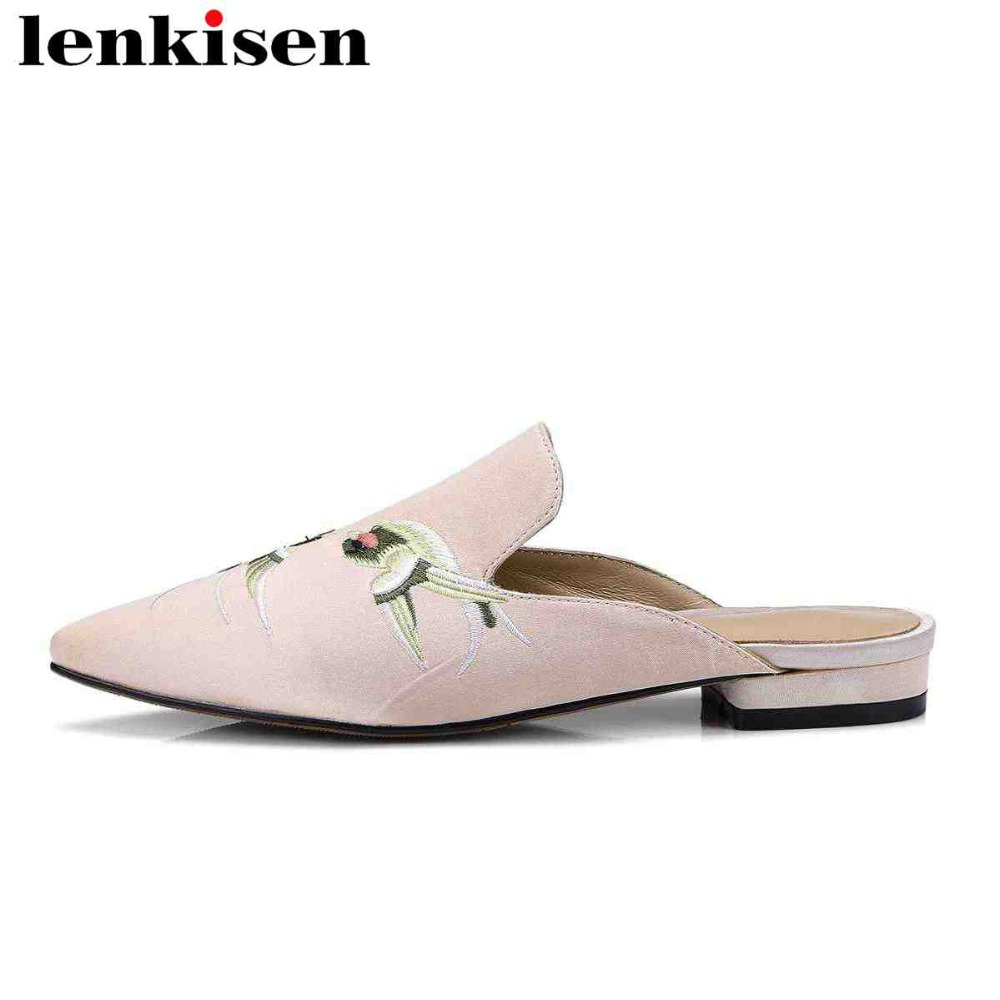 Lenkisen 2018 genuine leather slip on outside slippers beauty embroider mules silk big size pointed toe