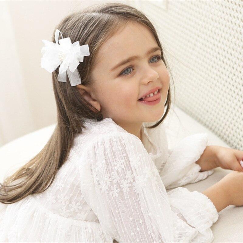 10 шт./лот бабочка галстук заколки бантом газовое волос ткани сбоку волосы ручки милые белые заколки с жемчугом изящные pinch