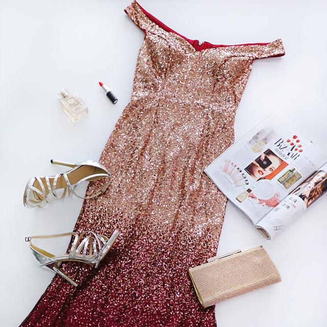 Evening Dress Long Sparkle 2020 New V-Neck Women Elegant EB29998 Sequin Mermaid Maxi Evening Party Gown Dress abendkleider 2020 5
