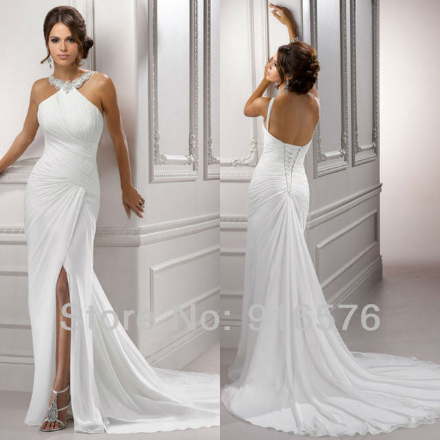Goddness Ruched White Halter Neck Pleated Front Slit Court Train ...