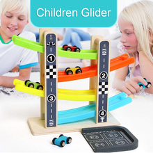 DOLLRYGA Children Track Glider Run Ball Track Building Blocks Plastic Kinetic Energy Track Wooden Scooter Christmas Toys For Kid mamimamihome baby wooden detachable chute car multi layer track scooter montessori toys for children building blocks