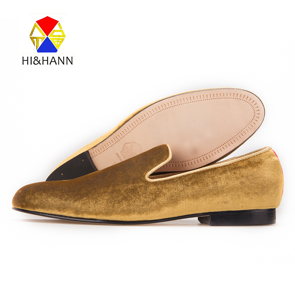 HI&HANN Classic and Handcrafted smoking slippers men luxurious gold velvet shoes with Genuine leather outsole Prom men loafers dc shoes кеды dc shoes evan smith hi navy gold 9