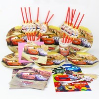 Disney Cartoon Cars Theme 83pcs/lot Kids Party Tableware Set Cup Plate Straw Napkin Banner Gift Bag Tablecloth Decoration Supply
