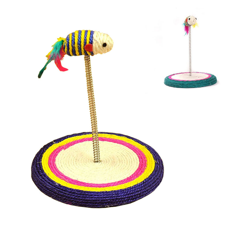 Cat Scratch Toys Pet Training Funny Interactive Play Toy Sisal Pad Base Coil Spring Colorful Mouse Style (Random color)
