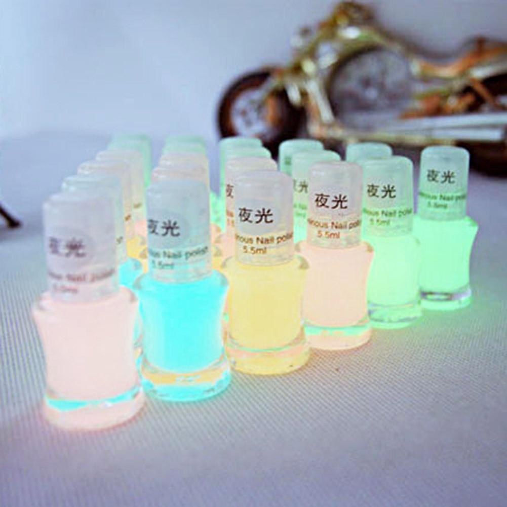 1 Bottle 5.5 ML Fashion Color Luminous Nail Polish Fluorescent Luminous Nail Polish Dark Shiny Nail Polish