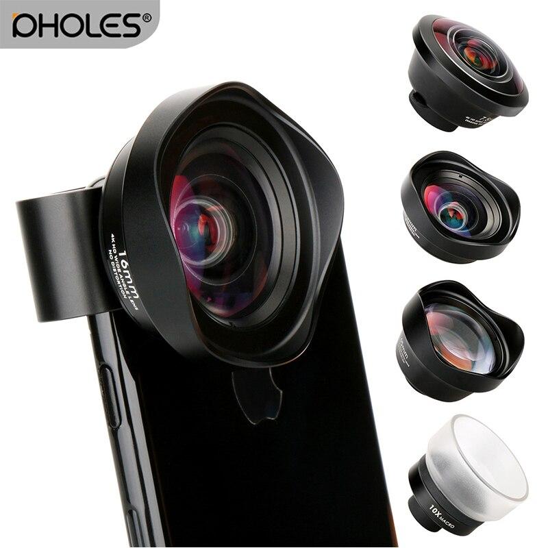 4 en 1 teléfono celular Kit de la Lente de la Cámara de ángulo ancho teleobjetivo Macro lente de ojo de pez de lentes para el iPhone Xs Max X 8 Huawei P20 Pro Samsung
