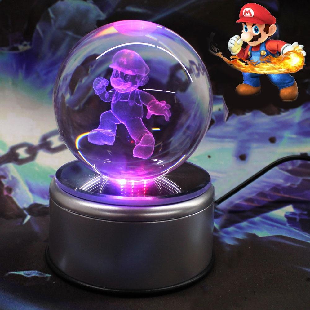 ФОТО HuiYuan Super Mario 3D Crystal Ball 7 Colors Rotation 3D LED Night Light Desk Table Lamp Glass Ball Child Christmas Gift