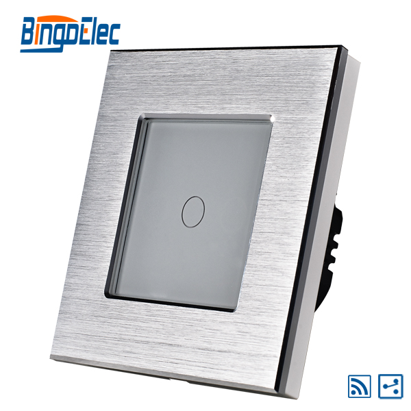 1gang 2way switch with remote function, smart control touch switch,EU/UK standard,aluminum frame plus glass panel,Hot Sale smart home eu touch switch wireless remote control wall touch switch 3 gang 1 way white crystal glass panel waterproof power