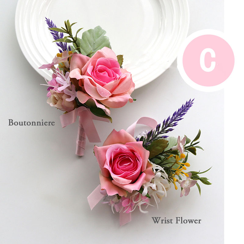 pink wrist corsage boutonniere wedding  (17)