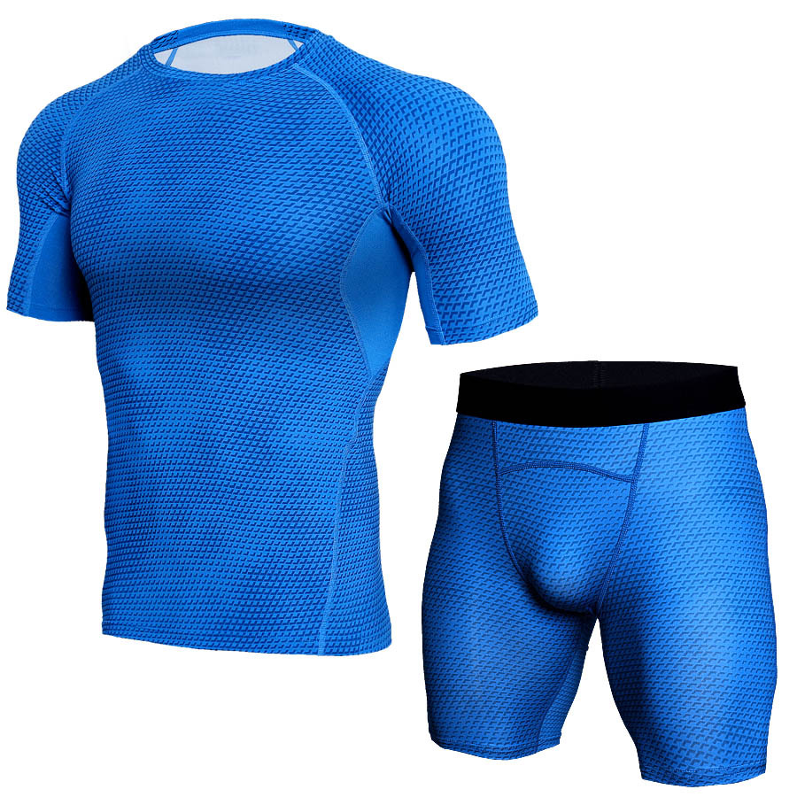 Mens Fitness Suit Running Sets Compression Muscle Tracksuit Fitness Tight T-shirt Legging Shorts Men Sportswear Gym Sport Suit