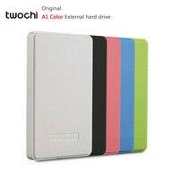 أنماط جديدة twochi a1 اللون الأصلي 2.5 ''hdd خارجي القرص الصلب 100 جيجابايت المحمولة تخزين القرص التوصيل والتشغيل على بيع