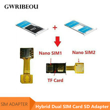 Hybrid Dual SIM Card Micro SD TF Adapter for Xiaomi Redmi for Meizu Huawei Double 2 Nano Mini Micro SIM Slot Wireless Adapters(China)