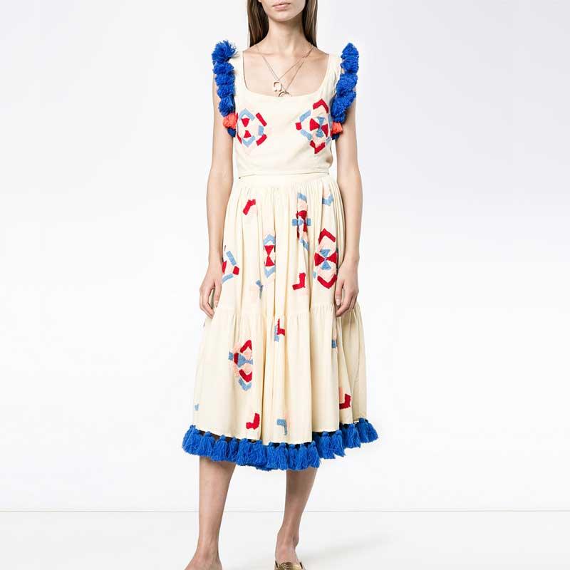 098c71a5a8f Twin D été Chic Casual Set Robe Inspiré 2018 Garniture Femmes Boho  Multicolore Robes Broderie Gland ...