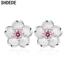 SHDEDE Flower Stud Earrings Women Female Ladies Cubic Zirconia Fashion Simple Girl Jewelry Anniversary Gift +*WHE226