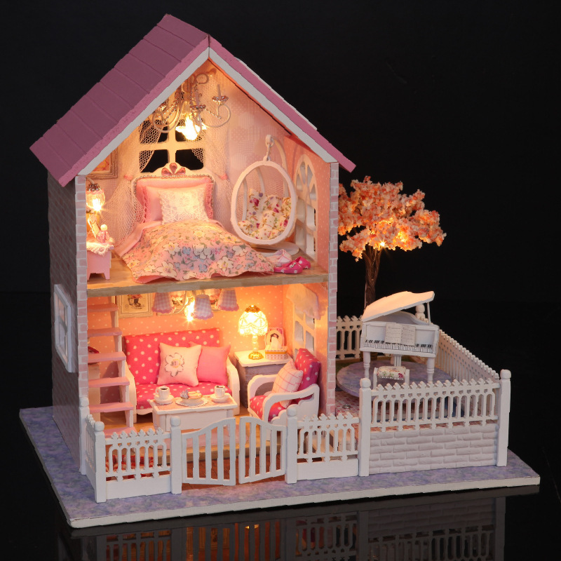 Cerisier rose fleurs bricolage artisanat en bois Mini maison de poupée Style Piano rose princesse maison assemblage bâtiment amant cadeau nouveau