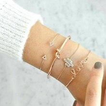 4pcs/1set Gold Color Cactus Letter Knot Bracelet  Bohemian Bracelet