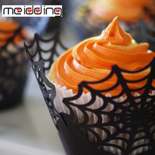 Halloween Party Cake Decoration Wrappers Favors Black Cupcake Spider Castle Wrapper Supplies