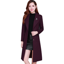 Womens 2019 New Fashion Wool Coat Lapel Long Sleeved Solid Color Cotton Jacket Medium Section Female Parker Outerwear