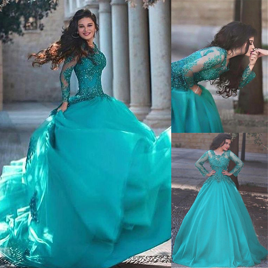 Fabulous Tulle Jewel Neckline A-line Wedding Dresses With Beaded Lace Appliques Blue Long Sleeves Bridal Dress