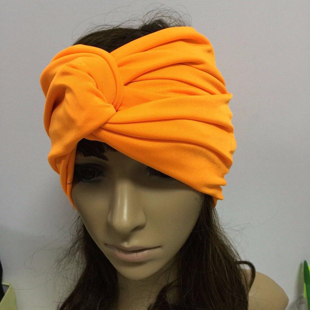 Hand Made Woman Wide Headband Muslim India Female Turban Bandanas Dual Purpose Much Colors Elastic Headwear Rose Red Orange 酒 吞 童子 fgo