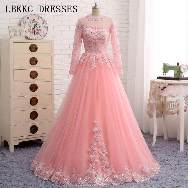 Long Sleeve Lace   Prom     Dresses   Floor Length Gala Jurken Tulle Appliques Vestido Formatura Elegant   Prom     Dress   Women Evening   Dress