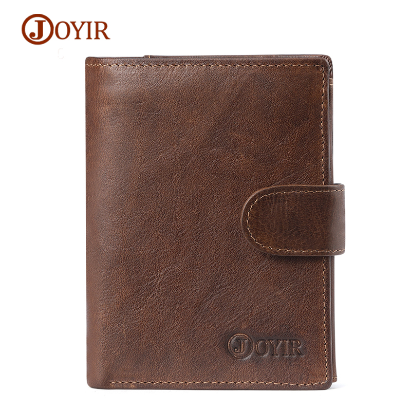 JOYIR Genuine Leather Men Wallets Vintage RFID Short Wallet Male Card Holder Hasp Cow Leather Wallet Men Purse Small Coin Purse