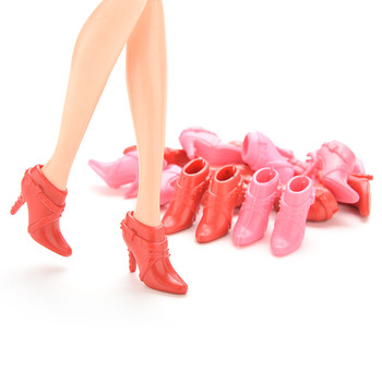 10 Pairs Color Random Mix Pairs High Heels Shoes Short Boots Doll Accessories Parts image