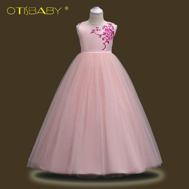 61cacd51501cc Genç Kız Dantel Nakış Vual Elbise Çiçekler Düğün doğum günü partisi  elbiseleri Kızlar için Resmi Çocuklar Prenses uzun elbise