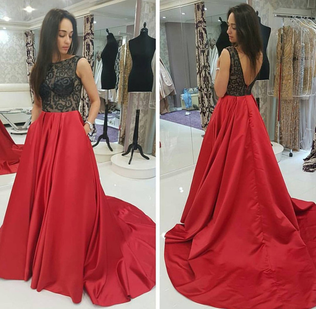 Hot 2017 Red A-Line Long   Evening     dresses   Plus Size Sleeveless Backless Lace Prom Gown Formal   Dress   Party   Dress   Vestido de noche