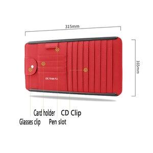 Image 3 - Tefanball автомобильный кожаный многофункциональный CD ящик для хранения автомобиля солнцезащитный козырек CD чехол для DVD Чехол для очков Папка Бизнес держатель для карт CD сумка