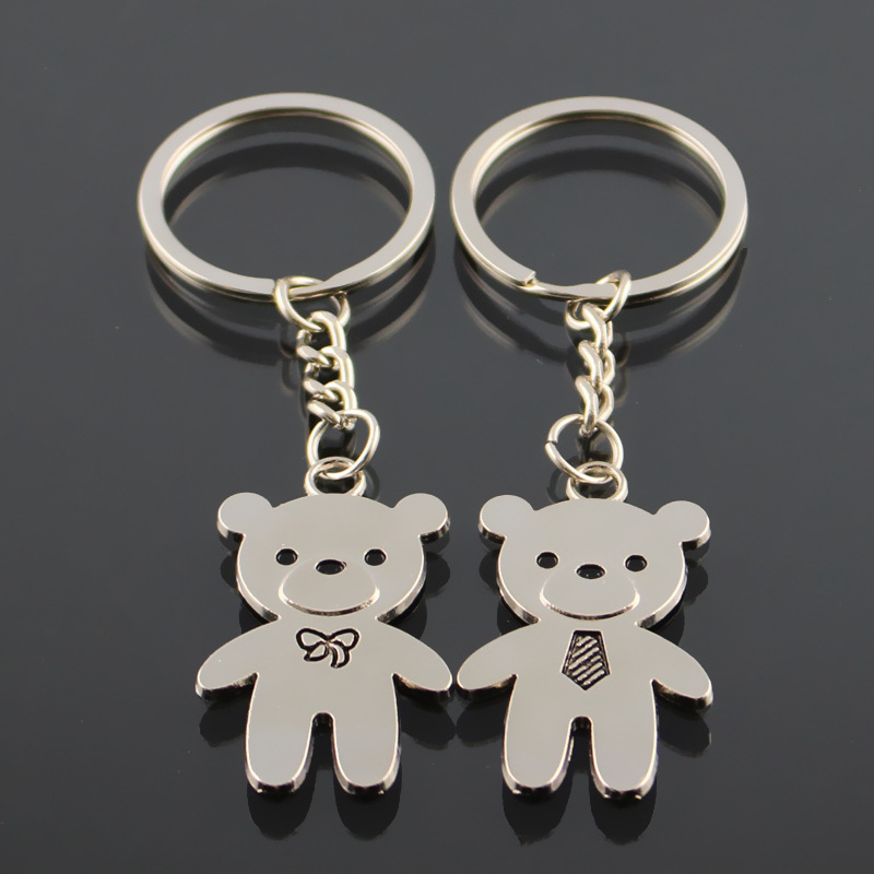 Cute Keychain Love Bear Lovers Couple Key Chain Keyring Cover Holder Handbag Charms Porte Cle Chaveiro Llavero Brelok Anahtarlik