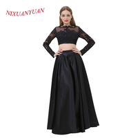 NIXUANYUAN O Neck Black Satin Formal Gowns Two Pieces Evening Dress 2017 Elegant Appliques A Line vestidos de noite Real Photo