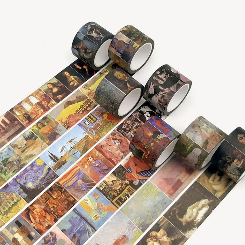 30mm*8m Wide Retro World Famous Painting Master Artist Drawing Washi Tape DIY Decoration Planner Scrapbook Sticker Masking Tape