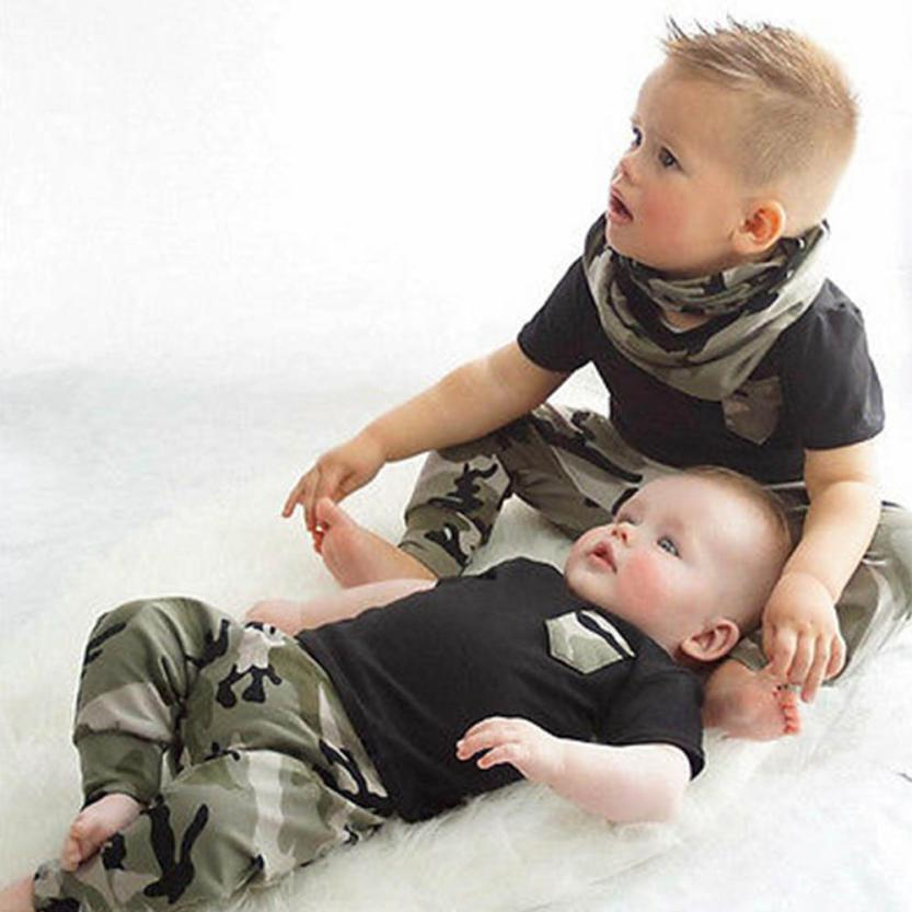 Newborn Clothes Infant Clothing Set Summer Baby Boy T shirt Tops Camouflage Pants Outfits Baby Boy Clothes Set 2018 spring newborn baby boy clothes gentleman baby boy long sleeved plaid shirt vest pants boy outfits shirt pants set
