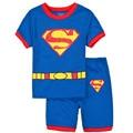 2017 New Summer 2 Pcs Cartoon Baby Boys Superman Toddler Clothing Set Child Superhero Pajamas Sets Nightwear Homewear