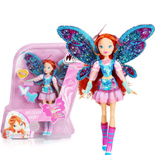 BIG!! 28CM High Winx Club Doll Bloom girl Action Figures Dolls with Wing and Mirror Comb Classic Toys For Girls Gift(China)