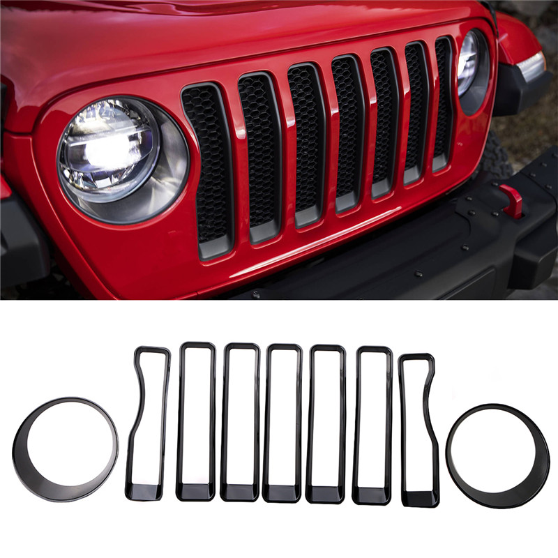 For 2018 2019 Jeep Wrangler JL FRONT HEADLIGHT COVER LAMP HEAD LIGHT TRIM RED