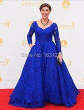 Attraktive Long Sleeve Abendkleider 2016 Trendy Spitze Blau A-Line Bodenlangen Celebrity Kleider WL050