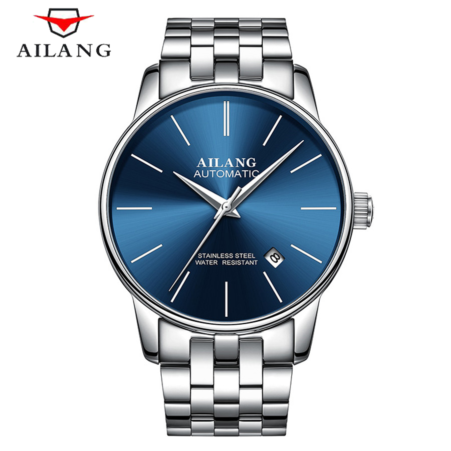 AILANG Top Brand Business Men Male Luxury Sapphire Watch Casual Full steel Calendar Clock Mechanical watches relogio NEW 2017 new full steel automatic watch binger casual fashion wristwatch with gold calendar man business hours clock relogio reloj