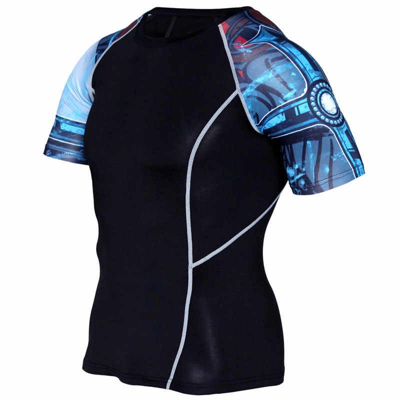 Летняя мужская компрессионная футболка с 3d принтом черепа, короткая футболка, бег трусцой, плотный базовый слой для тренажерного зала фитнеса тренировок, футболки MMA, топы, одежда