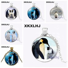 XKXLHJ Black and White Penguin Mother and Baby Photo Necklace Family Jewelry Polar Bird Animal Sweater Necklace Silver Pendant(China)