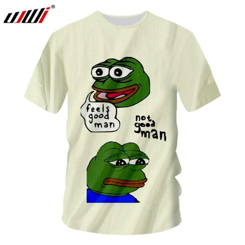 UJWI Meme T-shirts Men Hip Hop Streetwear Short Sleeve O Neck T Shirt 2018 Summer Tops Man 3d Print <font><b>Frog</b></font> White <font><b>Tshirts</b></font> Dropship image