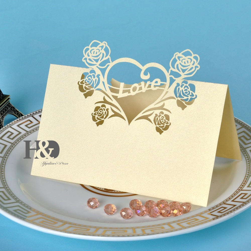 Laser Cut Love Heart 120pcs Yellow Place Card / Escort Card / Table ...